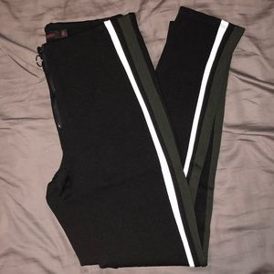 Black w/ Green Stripe Leggings